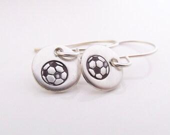 Mini Soccer earrings - sterling silver earrings - soccer ball earrings - sports earrings