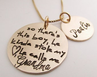 Grandma Jewelry - Personalized Necklace- So There's This Boy Grandma Necklace - Personalized Jewelry - hand stamped necklace