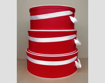 "SUPERSIZE ~ 20"" ~ 22"" & 24"" Millinery HATBOXES Limited Edition ~ RED/ WHiTE ~ Stack of 3"