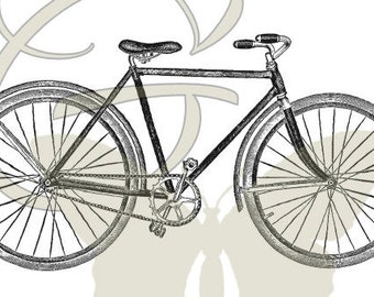 Printable Bike Illustration Digital Download Image Bicycle Transfer Artwork