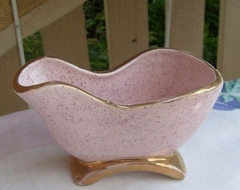 Valentines Day Sale Vintage pink planter vintage Shafer planter 1950s planter 1960s planter Shafer pottery planter 23k gold atomic planter