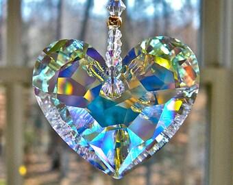 "Crystal Heart Sun Catcher, Car Charm 36mm Swarovski Aurora Borealis Heart Glows in Low Light - Choice of 3 Lengths for Home or Car - ""ANIKA"""