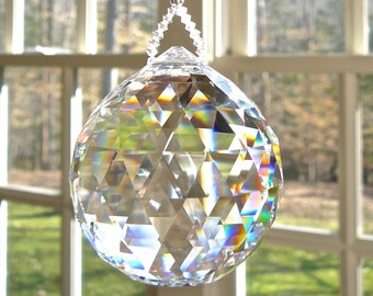 "HUGE 50mm Swarovski Crystal Ball Suncatcher, Clear Crystal Ball, Hanging Crystal Suncatcher, Rainbow Maker, Window Hanger ""SIMPLICITY VENTI"""