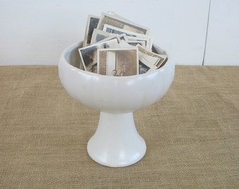 Vintage White Pottery Vase Compote Display Cottage Chic