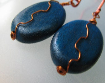 Royal Blue Wooden Bead and Copper Earrings, Blue Earrings, Blue and Copper, Wood Earrings