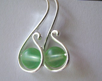 Pale Green and Silver Earrings, Contemporary Green Earrings, Sage Green and Silver Hook Earrings