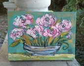"SALE Abstract Roses in Vase Painting Ready to Ship 9"" x 6.5"""