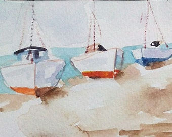 original watercolor painting ACEO boats , marine art  , 2.5x3.5 inches