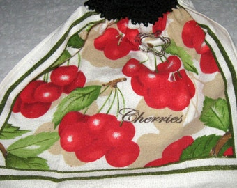 Crochet hanging towel, Cherries, dark sage green top