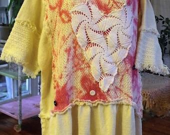 Plus Size Dress/Tunic/Crochet/Fringe/Splatter Paint/Homespun Look Cotton/Valentine Love