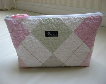 Large Cosmetic Bag, Quilted Cosmetic Bag, Waterproof Lining, Pink and Green Argyle
