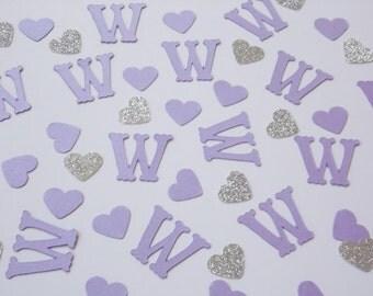 Monogram Confetti, Lavender Party Decor, Purple Wedding Shower Decoration, Table Scatter, Bridal Shower Decor
