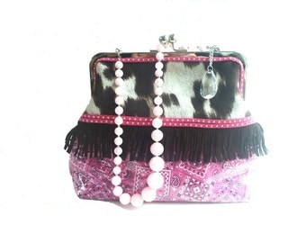 rockabilly handbag, vegan cowhide, western purse, vintage necklace, pink clutch, evening bag, rockabilly wedding, western wear, gift for her