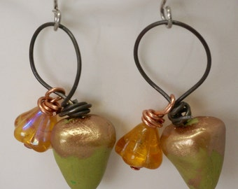 Handmade Acorn Earrings, Floral Earrings, Fall Woodland Earrings, Autumn Acorn Jewelry, Artisan Yellow and Green Earrings, Birthday Gift