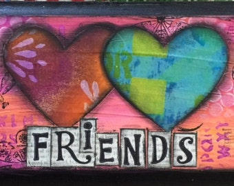 Original Mixed Media Painting on Plaque Bright Cheery Friends