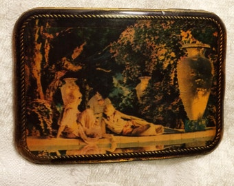Vintage Collectible 1970s Maxfield Parrish Masterwork Belt Buckle Print of The Garden of Allah Under Resin. It is About 3 by 2 Inches (J3)