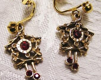 Vintage La Rue Clip On Cuckoo Clock Earrings with Dark Red Stones in Original Pink Box Pierced Look Earrings (J121)