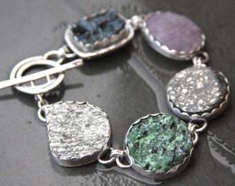 lava stone, fluorite druzy, pyrite, zoisite druzy, silver druzy and sterling silver metalwork bracelet