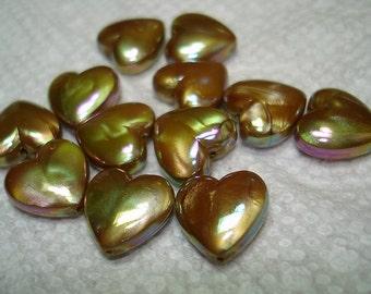 Olive Green AB Acrylic Puffed Heart Beads (Qty 11) - B3172