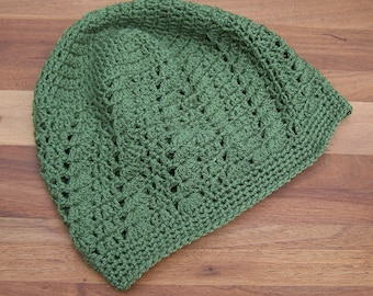 Crochet Kufi Hat - Skull Cap - Summer Hat - Lacy Beanie - Sage Green