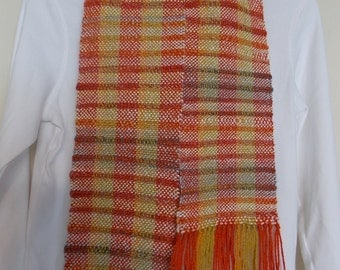 "The Softest Handwoven Scarf~67""x5.5"" Made From Alpaca and Bamboo in Orange, gold and white"
