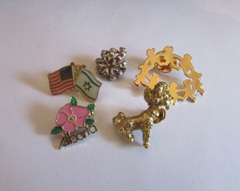 5 pins brooches