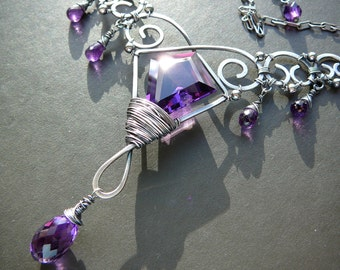 A touch of amethyst elven necklace - sterling silver and deep purple amethyst fairy necklace