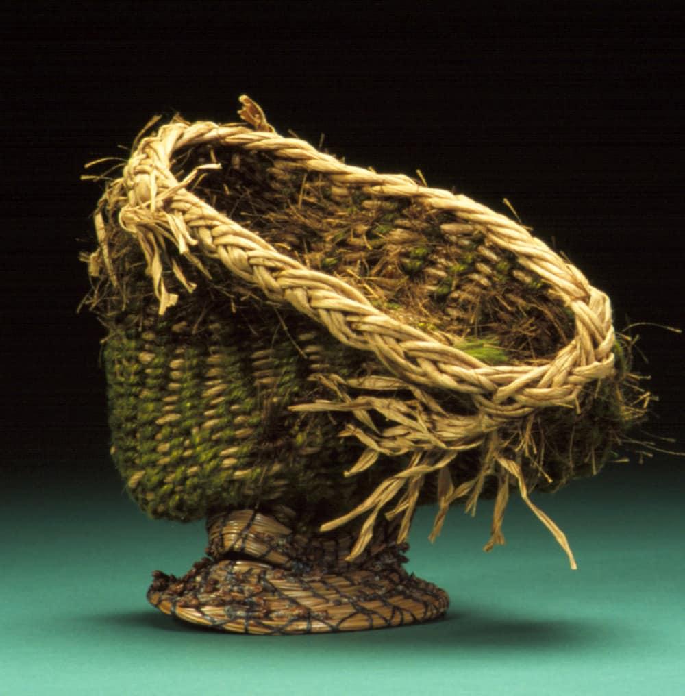 Woven Basket Art : Fiber art woven sculpture basket wicker textural