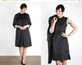 ON SALE Dress & Jacket 2pc Black Cheongsam, Overcoat. Asian LBD