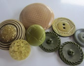 Vintage Buttons - Mid Century Modern lot of 8 large novelty neutrals and green, old and sweet, celluloid (oct 120)