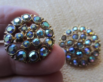 Vintage Buttons- 2 matching (2 sizes) iridescent design rhinestones,  gold metal (feb 500)
