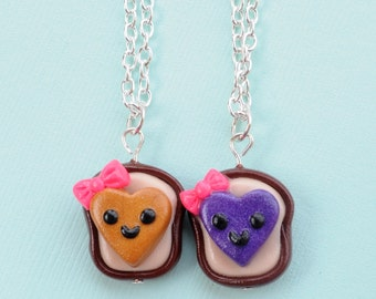Kawaii Best Friend Heart Peanut Butter and Jelly Necklaces with Bows Friendship Clay Miniatures Food Jewelry