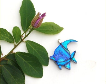 Fused dichroic glass pendant, tropical fish, blue