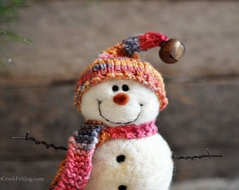 Snowman - handmade - needle felted- one of a kind -  730