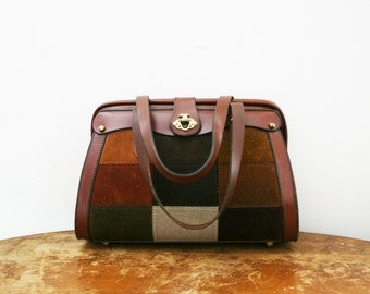 vintage 60s Super Suede Patchwork Handbag // Shades of Brown // Perfect Autumnal Accessory