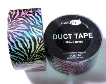 Rare Discontinued Rue 21 Duct Tape Roll Pastel Rainbow Tiger Zebra Stripes Duck Duct Tape Deco