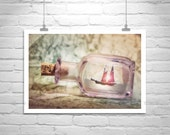 Ship in a Bottle, Art Photography, Canvas Art, Sailing Art, Nautical Art, Romantic Art, Sailboat Art, Sailboat Print, Dreamy Art, Gift