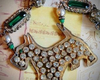 Great Scott!-Antique Vintage Rhinestone Scottie Dog Assemblage Necklace