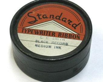 Vintage Standard Typewriter Ribbon Round Box with Metal Ribbon Spool