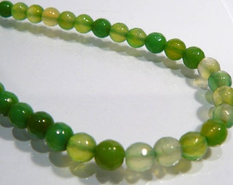 Lime Green Jade Facted Round Gemstone Beads.....6mm....10 Beads