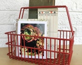 Vintage Red Wire Basket | Catch All Office Desk Caddy Organizer Bin Holder Metal Grid Rubber Plastic Wirework | vtg HOUSEWARES | FOUND by LB