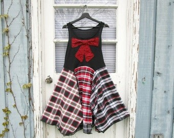 Small Bohemian Bow Plaid Red Black Tank Top Dress// Upcycled// Reconstructed// emmevielle