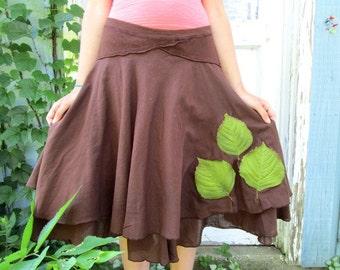 Medium Large Woodland Leaf Brown Cotton Skirt// Nature// emmevielle