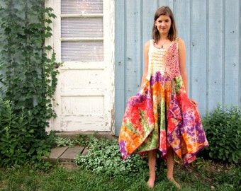 Medium Tie Dyed Multi Colored Bohemian Hippie Tea Length Tank Top Dress// Upcycled// emmevielle