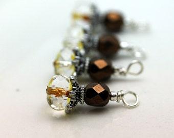 Czech and Copper Czech Bead Dangle Charm Earring Dangle Necklace Pendant Drop Set