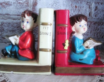 Saving For a Rainy Day - Vintage Bank Bookends - Nursery Decor - Sweet Boy and Girl Ceramic Bookends