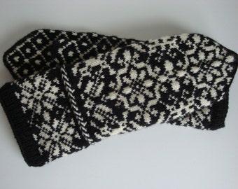 Fair Isle Mittens, Norwegian, Scandinavian, Latvian Braid, Off White and Black, Hand Knit, Extra Long