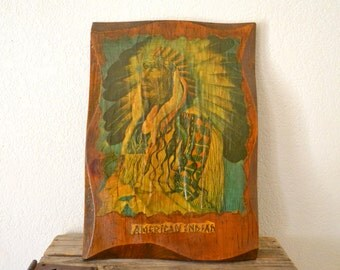 1970's American Indian Wood Wall Art