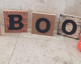 Wooden BOO blocks- halloween decoration