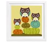 95 Retro Owl Print - Owls on Stacked Rocks Wall Art - Owls Print - Woodland Nursery Decor - Owl Nursery Print - Owl Art - Owl Room Decor